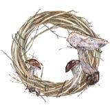 Watercolor Wreath. Mushrooms . Royalty Free Stock Images