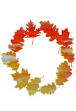 Watercolor wreath of oak and maple leaves Royalty Free Stock Photos