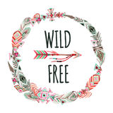 Watercolor wreath with ornate bird feathers and arrow on white background. stock illustration