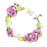 Watercolor wreath of pansies Royalty Free Stock Photos