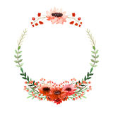 Watercolor Wreath With Poppy, Little Red Flowers And Green Leaves Stock Images