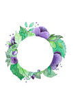 Watercolor wreath with purple flowers Royalty Free Stock Photo