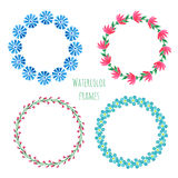 Watercolor wreath set. Floral round frame collection with flowers. Hand painted wedding or greeting card, birthday, book or placar Royalty Free Stock Images
