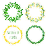 Watercolor wreath set. Floral round frame collection in green and yellow color. Hand painted wedding or greeting card, birthday, b Stock Photography