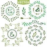 Watercolor wreath set.Vintage floral laurels Royalty Free Stock Image
