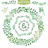 Watercolor wreath set.Vintage floral laurels Stock Photography