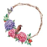 Watercolor wreath with sparrow and batterfly. Hand painted hydrangea and dog rose with eucalyptus leaves isolated on vector illustration