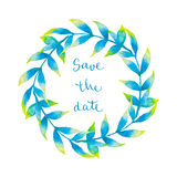 Watercolor wreath with tropical leaves Royalty Free Stock Images