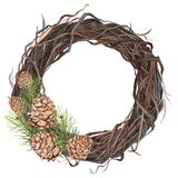 Watercolor wreath of twigs with pine cones. Ideal for creating greeting cards, business cards, posters. Isolated on royalty free stock photography