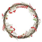 Watercolor wreath of twigs and red berries vector illustration