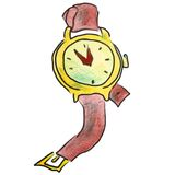 Watercolor wristwatch red cartoon figure, isolated Royalty Free Stock Photography