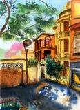 Watercolor xiamen gulangyu china Royalty Free Stock Image