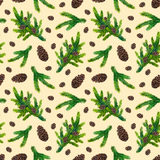 Watercolor xmas pattern with fir branches and pinecones. Watercolor Christmas pattern with fir branches and pinecones on beige background, watercolour hand Stock Photos