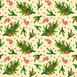 Watercolor Xmas pattern with fir branches and red berries. Watercolor Christmas pattern with fir branches and red berries  on beige background, watercolour hand Royalty Free Stock Image