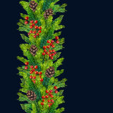 Watercolor xmas seamless borders of fir branches, cones and berries Royalty Free Stock Photos