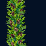 Watercolor xmas seamless borders of fir branches and pinecones Stock Photo