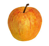 Watercolor Yellow Apple on White Background Stock Photo