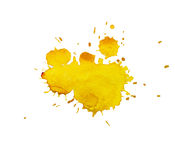 Watercolor, yellow blot. On white background stock photography