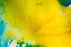 Watercolor yellow blue abstract background Royalty Free Stock Images