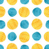 Watercolor yellow and blue circles seamless pattern. Modern textile design. Wrapping paper texture. Stock Photo