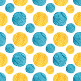 Watercolor yellow and blue circles seamless pattern. Modern textile design. Wrapping paper texture. Stock Photography
