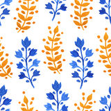 Watercolor yellow and blue sprigs Stock Images