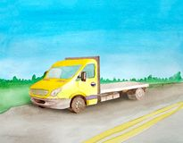 Watercolor yellow empty  flatbed rides a load on the asphalt road. Background of daytime summer landscape.  royalty free illustration
