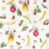 Watercolor And Yellow Flowers Flat Lay Colorful Food Pattern Made Of Lemon Beetroot Radish Stock Photo