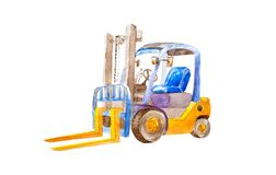 Watercolor yellow forklift with yellow forks without load in a quiet state on a white background isolated. Distribution stock illustration