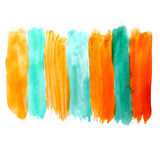 Watercolor yellow green blot hand isolated Royalty Free Stock Images