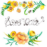 Watercolor yellow and green flowers and bee Stock Photography