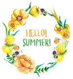 Watercolor yellow and green flowers Stock Images