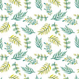 Watercolor Yellow And Green Leaves Seamless Texture Stock Image