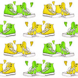 Watercolor yellow green sneakers pair hearts seamless pattern background Royalty Free Stock Photo