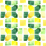 Watercolor Yellow And Green Squares Repeat Pattern Royalty Free Stock Images