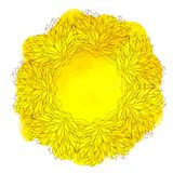 Watercolor yellow lace Stock Photography