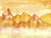 Watercolor yellow landscape -Background wiyh space for text. Mou Stock Photo