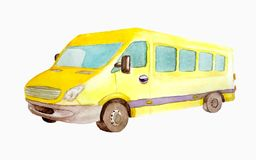 Watercolor yellow mini bus or taxi isolated on white background  for postcards, business cards. Watercolor yellow  mini bus or taxi isolated on white background royalty free illustration