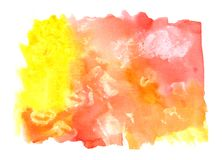 Watercolor Yellow-Orange Painted Background stock photography