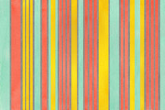 Watercolor yellow, seafoam, salmon and grey striped background. Royalty Free Stock Image