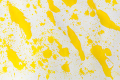 Watercolor yellow splashes abstract. Watercolor rich yellow abstract background. Hand made splashes on grainy paper Royalty Free Stock Image