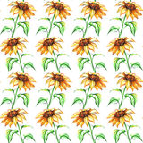 Watercolor yellow sunflower flower seamless pattern texture background.  Stock Images