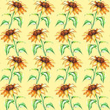 Watercolor yellow sunflower flower seamless pattern texture background.  Royalty Free Stock Photography