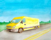 Watercolor yellow van truck rides a load on the asphalt road. Background of daytime summer landscape.  vector illustration