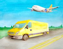 Watercolor yellow van truck rides a load on the asphalt road. Background of daytime summer landscape stock illustration