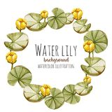 Watercolor yellow water lily wreath, greeting card template. Hand painted on a white background Stock Photos