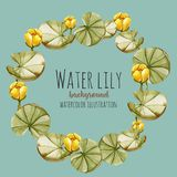 Watercolor yellow water lily wreath, greeting card template. Hand painted on a blue background Stock Photos