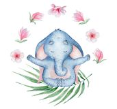 Watercolor yoga elephant in lotus position with flowers cute hand drawn illustration. Watercolor yoga elephant in lotus position with flowers cute animal hand vector illustration