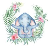 Watercolor yoga elephant in lotus position with flowers cute hand drawn illustration. Watercolor yoga elephant in lotus position with flowers cute animal hand stock illustration