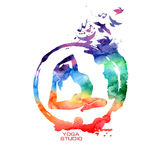 Watercolor yoga pose label. Vector rainbow watercolor label with creative Zen symbol and yoga pose stock illustration